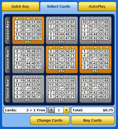 selecting bingo cabin 75 ball bingo cards