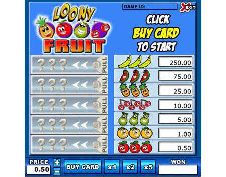 bingo cabin loony fruit online instant win game