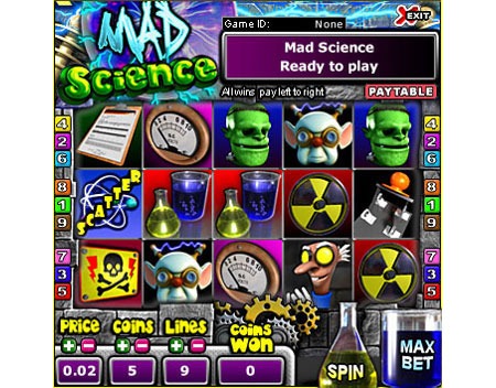 bingo cabin mad scientist 5 reel online slots game