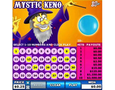 bingo cabin mystic keno online instant win game
