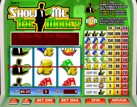 bingo cabin show me the money 3 reel online slots game