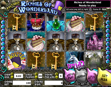bingo cabin riches of wonderland 5 reel online slots game
